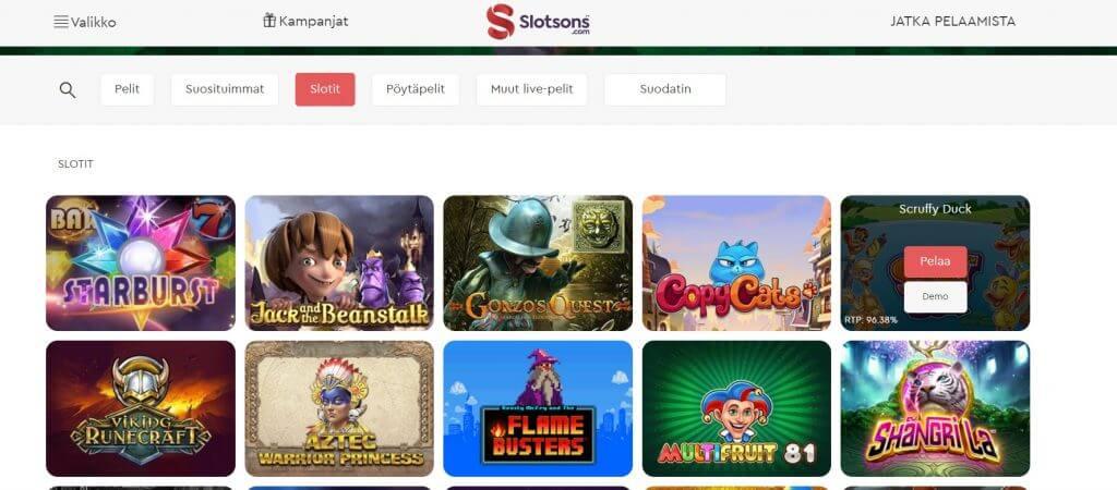 Slotsons Casino pelit